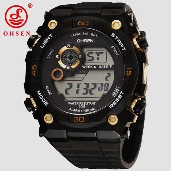 Hot Brand OHSEN 2017 Men LED Digital sport Watches wristwatch mens male 50M waterproof rubber band gold fashion design Hombre clock