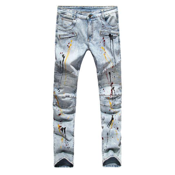 All'ingrosso Uomini Jeans Biker Design Jeans Moda per uomo Hip Hop Strech Jeans pieghettati Europa e gli Stati Uniti il commercio estero straniero