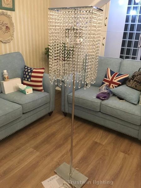 Высокое качество продолговатый прямоугольный стеклянный квадратный Кристалл торшер светодиодные лампы дополнительный квадратный Кристалл пол свет