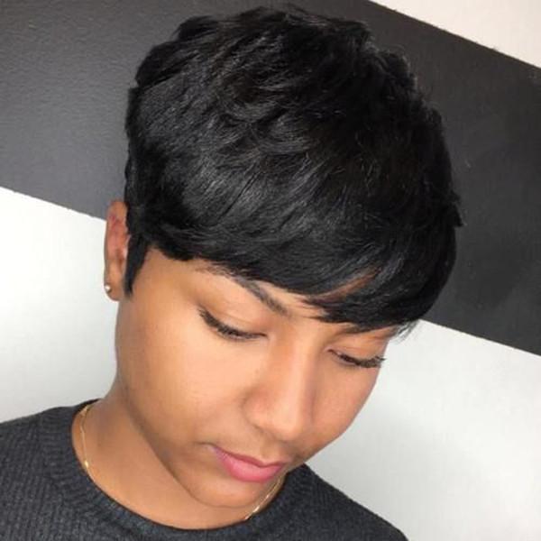 Peruvian Virgin Cut Hair Wig Celebrity Wig Best Human Hair Wigs Straight Short Cut Pixie Girl Wig for Black Women