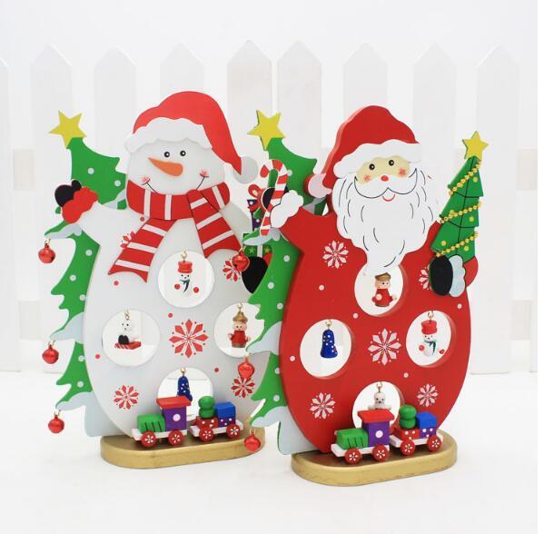Weihnachtsdekoration Schneemann Santa Neue Einzelstück Holz Ornamente Diy  Kreative Geschenk Aus Holz Schneemann Desktop Dekoration