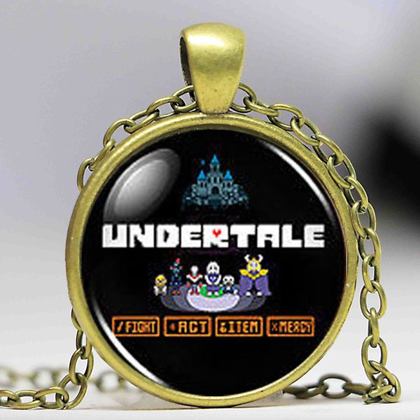 Undertale Menu Game Gamer Gaming Necklace man Mens Handmade Fashion brass silver Pendant steampunk Jewelry Gift women toy chain