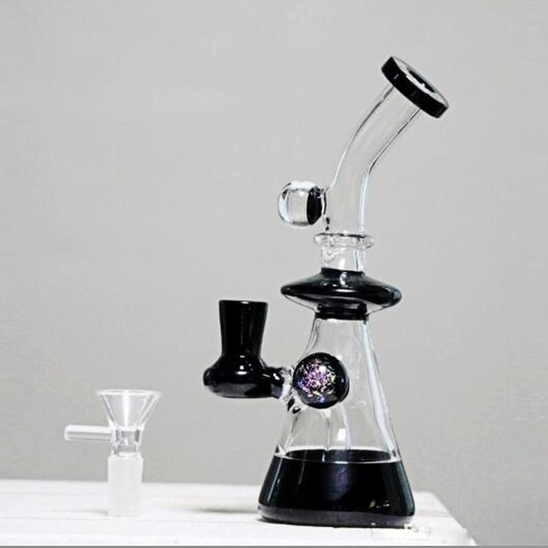 New Hookaks Black Glass Bongs Water Pipes 19cm Tall Noctilucence Ball Handheld Recycle Oil Rigs Glass Bongs With Bowl Real Pictures