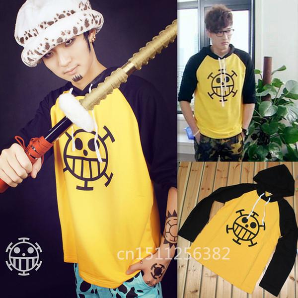 Wholesale- Anime one piece Trafalgar Law Hoodie Jacket Cosplay Costume Hooded Sweatshirt Long Sleeve Cotton T Shirt Men XXXL Free Shipping