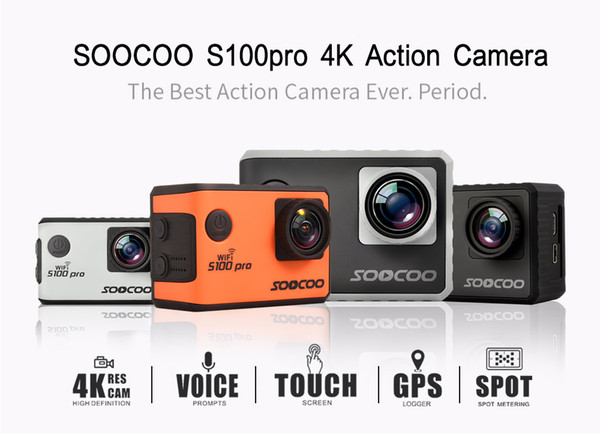 SOOCOO S100PRO Wifi 4K Sports Camera Touch Screen Built-in Gyro with GPS Extension(GPS Model include) Voice Control Camera DHL Free