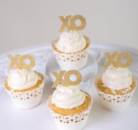 Custom personality Glitter XO Cupcake Toppers Food Picks Bachelor Bachelorette Valentine Wedding Bridal Engagement Lingerie Party Decoration