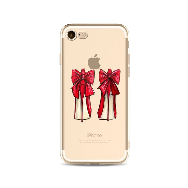 2017 High-Heeled Shoes Printing Painting Phone Soft TPU Gel Clear Transparent Case For iPhone 5 5S SE 6 6S 7 Plus iPhone8