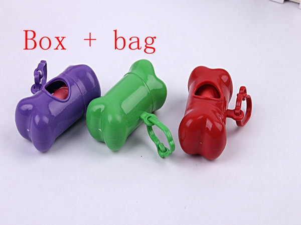top popular 100pcs lot Fast shipping Bones type Dog Pet waste box With waste bags poop bag pet pooper scooper random color 2020