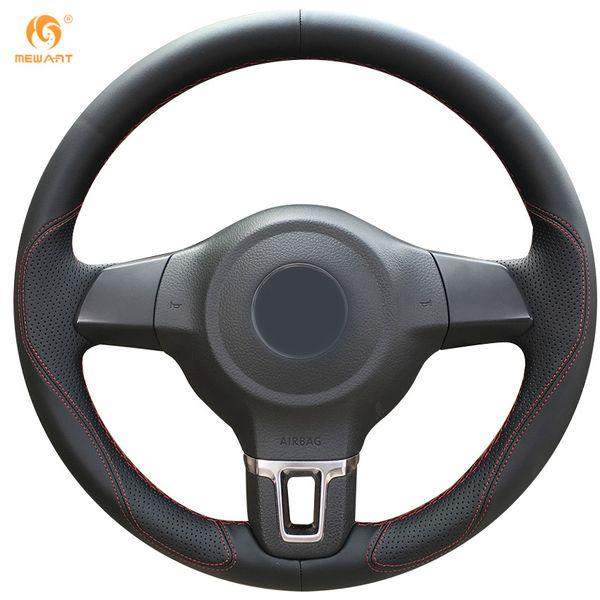 Mewant Black Leather Steering Wheel Cover for Volkswagen Golf 6 Mk6 VW Polo Sagitar Bora Santana Jetta Mk6