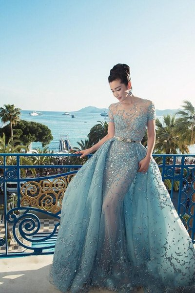 best selling 2017 Custom Made Elie Saab Evening Dresses Illusion Sheer Skirts Sky Blue Sexy Long Prom Dresses Luxury Peplum Celebrity Evening Dress
