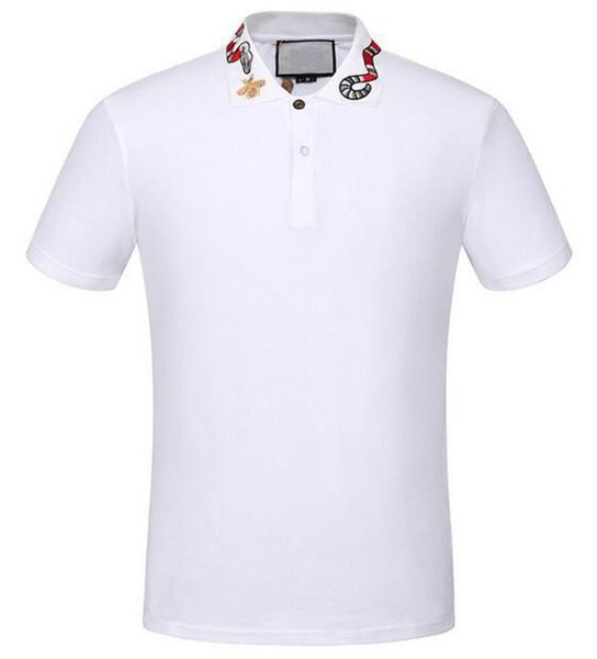 Outdoor White Solid Polo Shirt Snake Bee Collar Casual Polos For Men Tee Shirts Tops High Quality Cotton Black M-XXXL