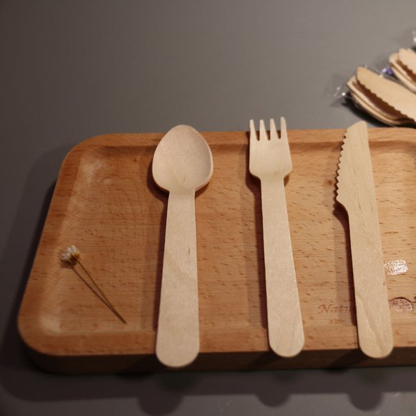 One Time Use Wooden Spoon Fork Knife 14CM Western Disposable Spoons Tableware Kitchen Accessories For Dish Cake