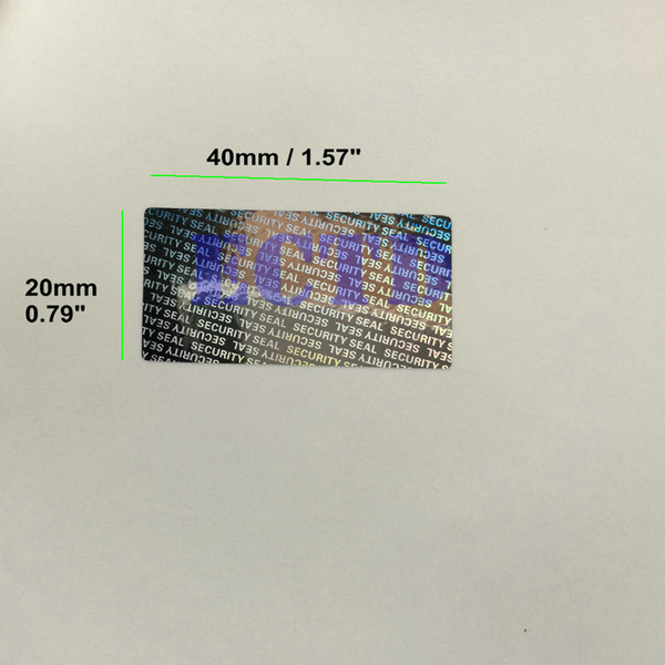 best selling 500pcs 40*20mm Hologram Security Seal Tamper Proof Warranty Void Label Stickers