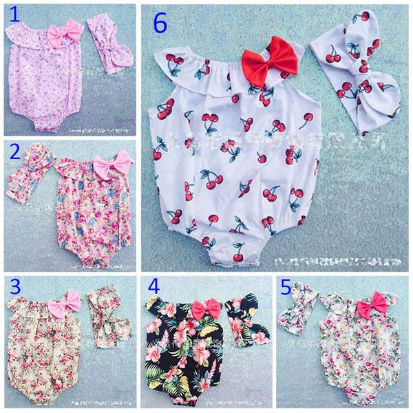 best selling 7 Style 0-3T Baby Flower Rompers+Hair band Girl ins Cotton floral cherry print sleeveless romper with Bow Girls Ruffled Jumpsuit B001