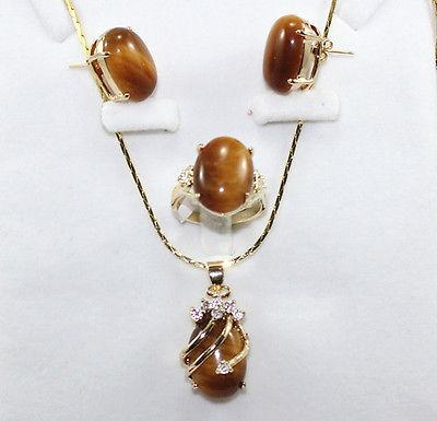 Wholesale cheap 5 color-blue/red/pink/purple/green jade-tiger eye stone earring pendant ring set