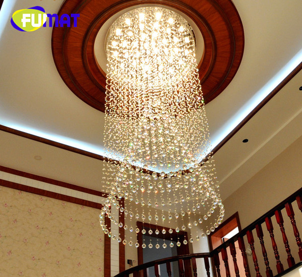 FUMAT Luxury Large Crystal Lámpara de Interior Simple Creativo moderno colgante de luz para Penthouse Floor Hall Forma Circular Bombillas LED
