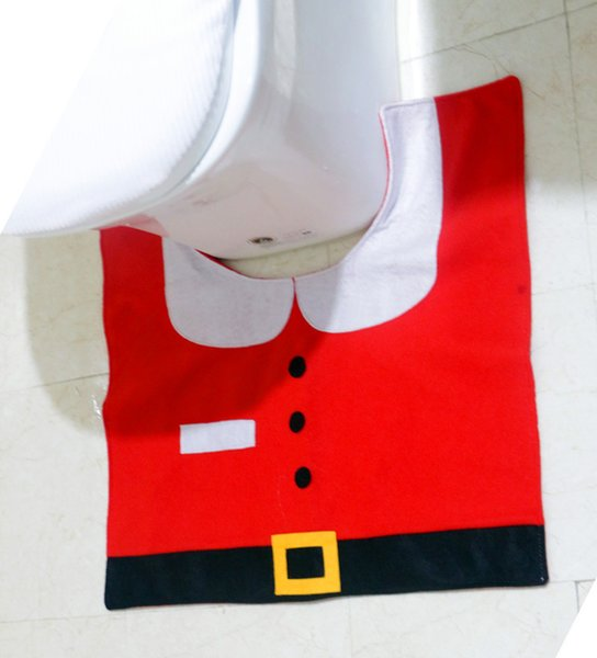 Sale Christmas Decoration for Home Fancy Santa Toilet Seat Cover and Rug Bathroom Set Christmas Ornament Free Shipping
