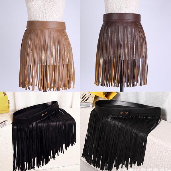 Wholesale- New Arrival Women Hippie Boho Fringe Tassel PU Faux Leather Belt All Matching High Waist Lons Fringed Cummerbuns Skirt