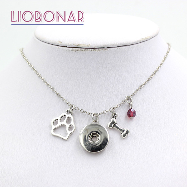 Wholesale Snap Jewelry Personalized Necklace Gift 12 Birthstone Pet Dog Bone Paw Print Snap Necklace Fit on Snap Button Jewelry