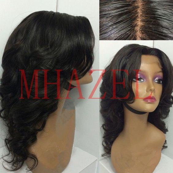 MHAZEL middle part real hair sexy curly brazilian hair lace front wig glueless &full lace wig