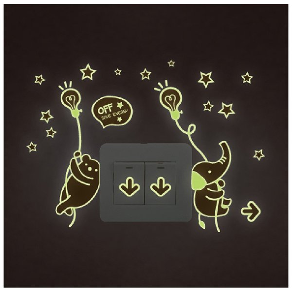 Y0040 Night Light Luminous Stickers Home Decor Animals Wall Sticker for Kids Rooms Wall Decals Cute Animals
