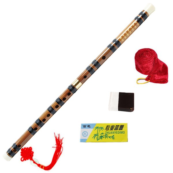 Wholesale- Chinese Bamboo Flute Brass Joints Key of C/D/E/F/G Woodwind Musical Instruments Hot sell Dizi Pan Flauta with all Accessories