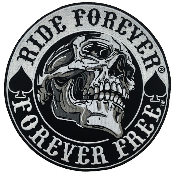 """NEW ARRIVAL Large Ride Forever Free Embroidered Motorcycle Patch Back MC Biker Jacket Vest 9 """" Leather Patch Free Shipping"""