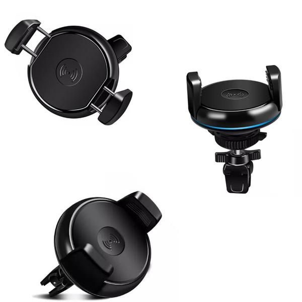 Qi cargador de coche inalámbrico 360 grados de rotación titular de coche Qi cargador inalámbrico Pad para iphone X 7 8 plus Samsung S8 Plus
