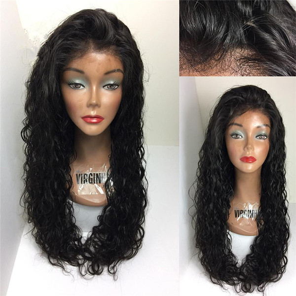 Brazilian Virgin Hair Wig Water Wave Virgin Human Hair Lace Wigs With Baby Hair Pre Pluck For Black Women