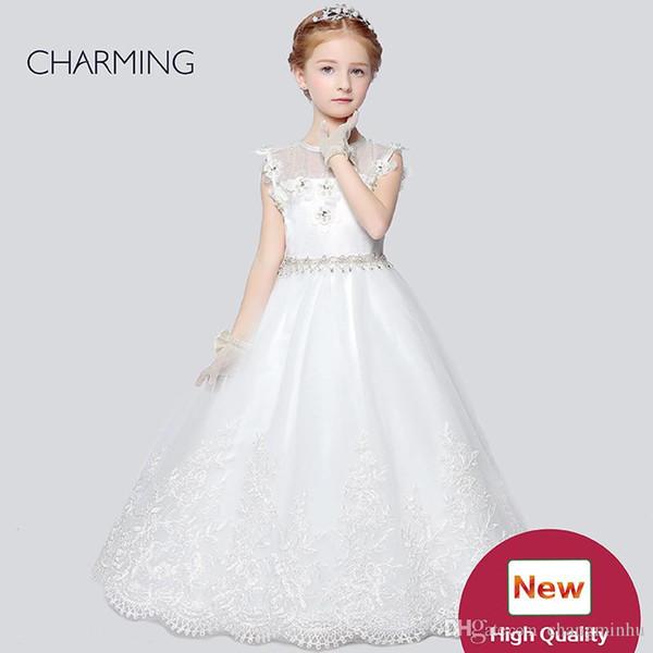 Toddler flower girl dresses Designer kids dresses Flower girl dress ivory high quality Pageant dresses for girls China suppliers