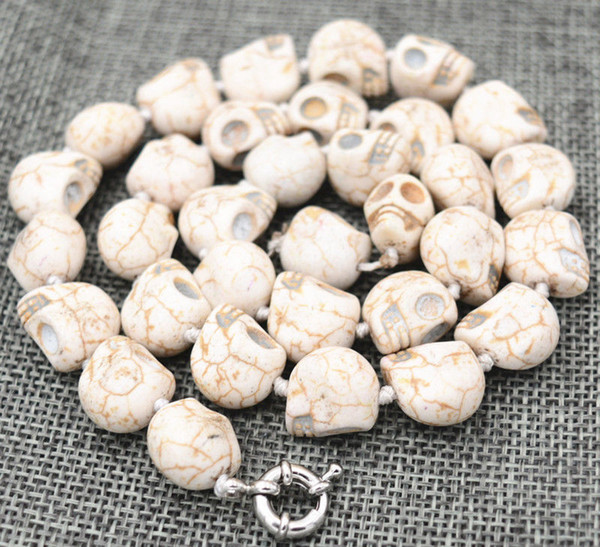 New 10x12mm White Turquoise Carved Skull Head Beads Mala Necklace