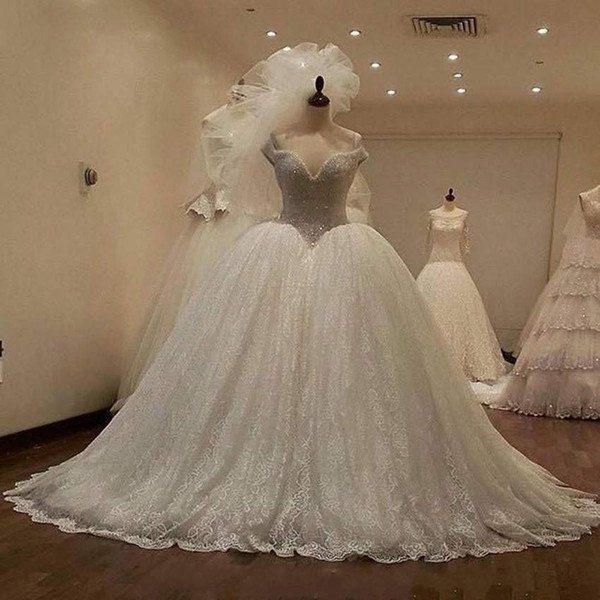 New Arrival Shiny Bead 2019 Ball Gown Wedding Dress Sexy Sweetheart Lace Cap Sleeve Bridal Gown Sleeveless Robe De Mariee