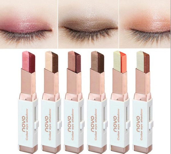 best selling NOVO color eye shadow 6 different colors 3.8g velvet Gradient color Eyeshadow Stick 120pcs lot DHL