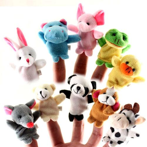 best selling 10pcs set Baby Plush Toys Cartoon Fun Animals Finger Hand Puppet Kids learning & education Toys Gifts for birthday Wholesale