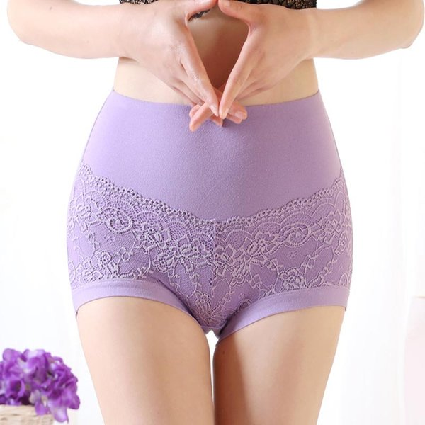 2XL Size Pure Color Panties Large Size Lace Pure Cotton Briefs Women High Waist Underwear XL Size Undies X-Large Hiphuggers for Female