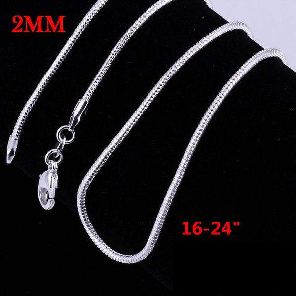 2MM 16-24inches snake chain NEW ARRIVE hot sale silver plated women men Necklace jewelry for pendant DIY BEADS