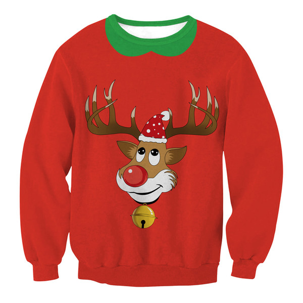 Women Christmas T-shirt Female Reindeer Christmas trees O Neck Long Sleeve Tops Women Spring Autumn Blusas red Design Tops
