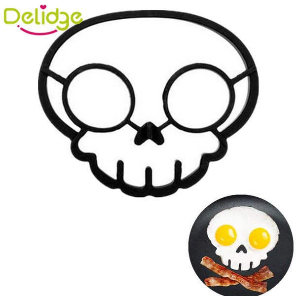 1 pcs Skull Shape Fried Egg Ring Silicone Egg Mold Cooking Tools Skull Eggs Mold Fried Styling Kitchen Gadgets Bluesky