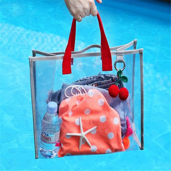 2 colors Women Bag PVC Transparent Beach Bags England Style Travel Large Capacity Handbags Fashion Female Tote Purse