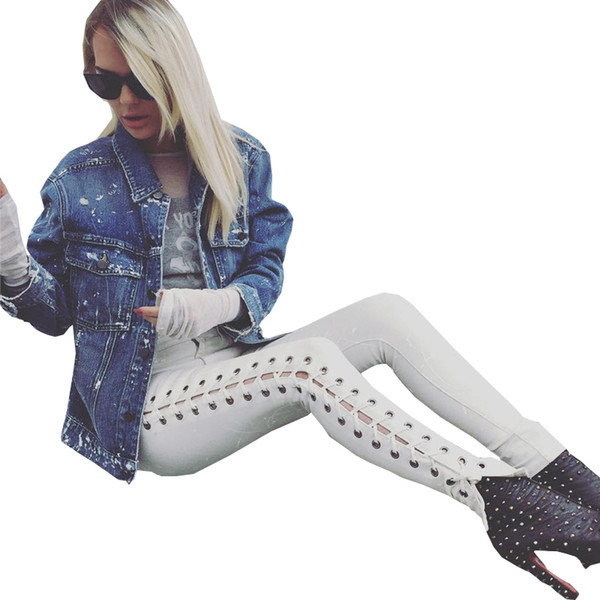 Wholesale- Autumn new bandage lace up Jeans Women fashion Elastic cotton low skinny pencil pants 2016 sexy Side ripped jeans for women