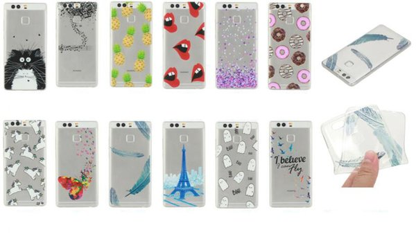 Cartoon Feather Watermelon TPU Soft Case For Huawei P10 Plus P8 Lite 2017 ( Honor 8 Lite ) Tiger Fruit Girl Flower Mandala Phone Cover Skin