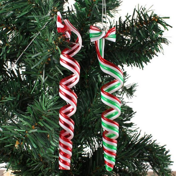 wholesale- 4 pcs christmas ornaments striped pendants christmas ornament for home party decoration tree pendant