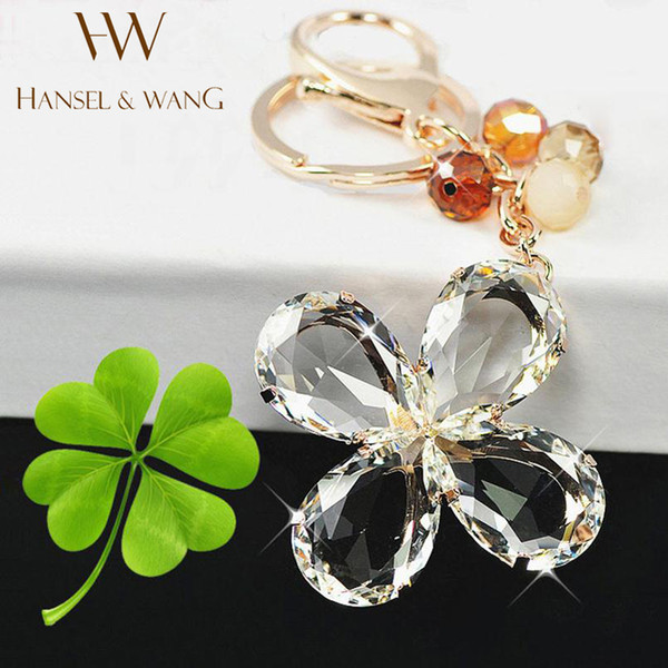 Lucky Clover Crystal Clear Keychain Car Key Ring Bag Charm Key Holder Key Chains Chaveiro Llaveros Mujer Friend Gift KC09