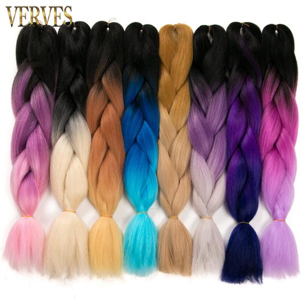 top popular wholesale 24inch Synthetic High Temperature Fiber Ombre Kanekalon Brading Hair braids Extension 100g pcs Jumbo Braiding Hair 2019