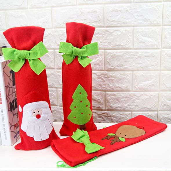 Christmas 3 Colors Santa Claus Knitting Cloth Ornaments Xmas Wine Bottle Cover Bag Dinner Party Table Decor