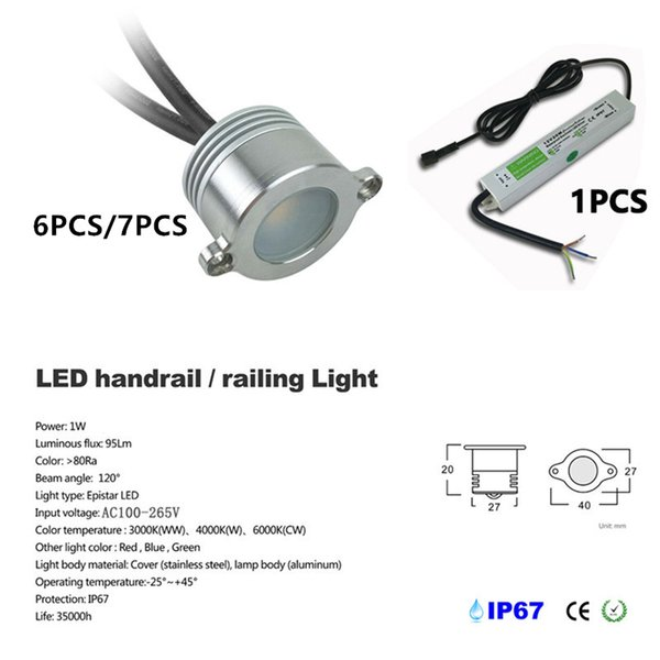 Lumière 1 W Porche Embedded 12 Volts Stairway Handrail Led 6 Avec 7fgb6vmIyY