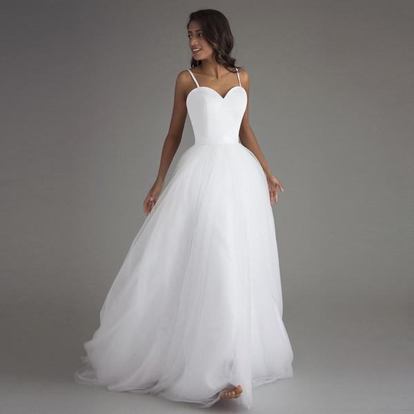 Compre Correa De Espagueti Vestidos De Boda De Playa 2019 Marca Vestido Noiva Praia Vestidos De Novia De Tul Blanco Casamento Simple Por Encargo A