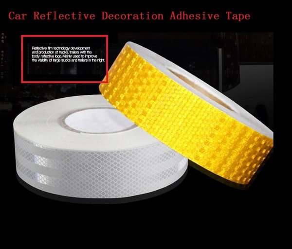 best selling 5CM*45M PVC Self-Adhesive Reflective Safety Warning Tape Sticke For Car Truck Van Car Motorcycle Traffic Signal