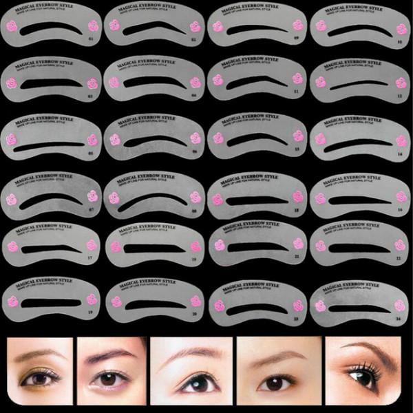 24 Adet Pro Kullanımlık Kaş Stencil Seti Göz Kaş DIY Çizim Kılavuzu Şekillendirme Şekillendirme Tımar Şablon Kart Kolay Makyaj Güzellik Kiti