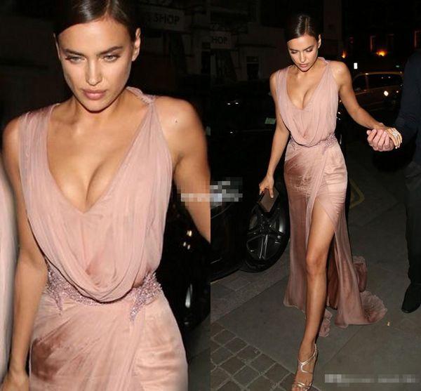 Sexy Irina Shayk Celebrity Dresses V Neck Side Split Beaded Applique Sheath Rose Pink Chiffon 2017 Cheap Evening Party Dress Long Prom Gowns